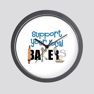 Support Your Local Bakers Wall Clock