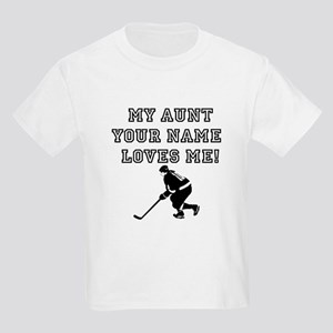 My Aunt (Your Name) Loves Me Hockey T-Shirt