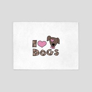 I Love Dogs 5'x7'Area Rug
