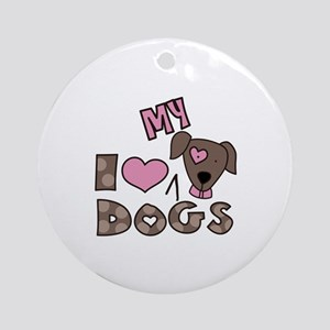 I Love My Dog Ornament (Round)