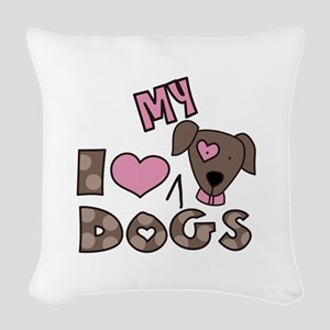 I Love My Dog Woven Throw Pillow