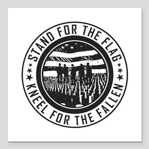 "Kneel For The Fallen Square Car Magnet 3"" x 3"""