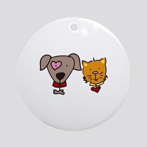 Dog and cat Ornament (Round)
