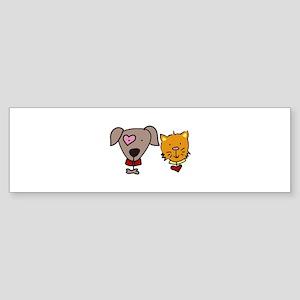 Dog and cat Bumper Sticker