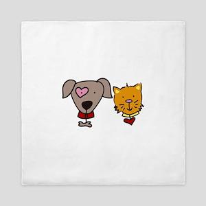 Dog and cat Queen Duvet