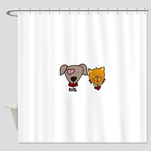 Dog And Cat Shower Curtain