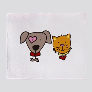 Dog and cat Throw Blanket