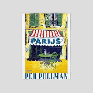 Paris, Cafe, Vintage Poster 5'x7'area Rug