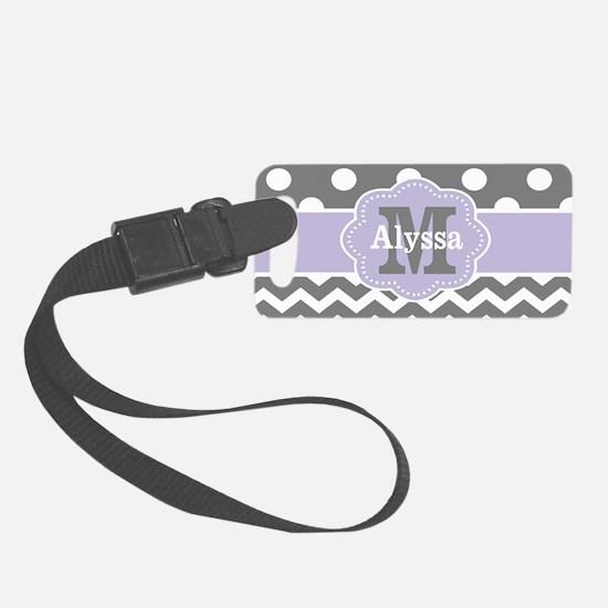 Gray Purple Polka Dots Chevron Luggage Tag