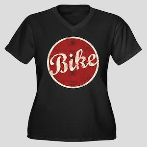 Bike Women's Plus Size V-Neck Dark T-Shirt
