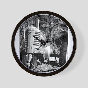 John Deere in Black and White Wall Clock