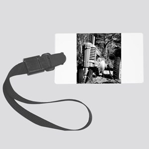 John Deere in Black and White Luggage Tag