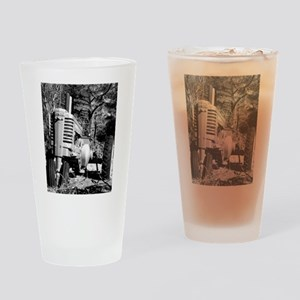 John Deere in Black and White Drinking Glass
