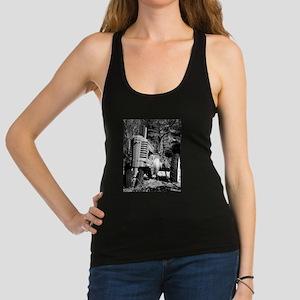 John Deere in Black and White Racerback Tank Top