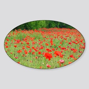 Field of Red Sticker (Oval)