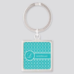 Teal Anchor Monogram Square Keychain