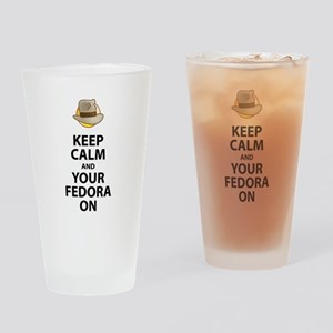 Keep Calm And Your Fedora On Black Drinking Glass