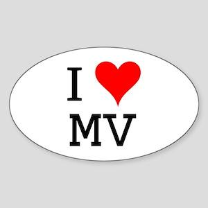I Love MV Oval Sticker