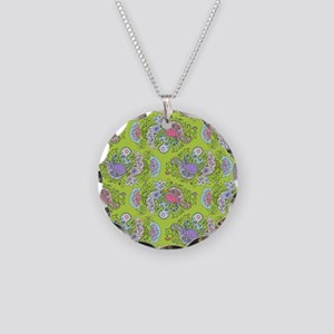 Paisley Doodles Lime Necklace Circle Charm