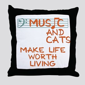 musicandcats-dark Throw Pillow