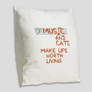 musicandcats-dark Burlap Throw Pillow