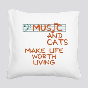musicandcats-dark Square Canvas Pillow