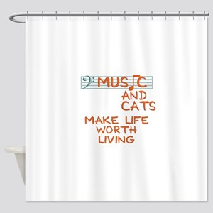 musicandcats-dark Shower Curtain