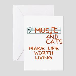 musicandcats-dark Greeting Cards