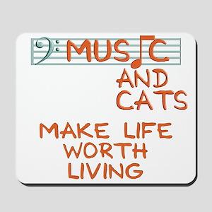 musicandcats-dark Mousepad