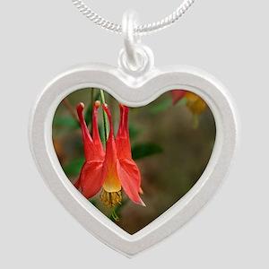 Eastern Columbine (Aquilegia Silver Heart Necklace