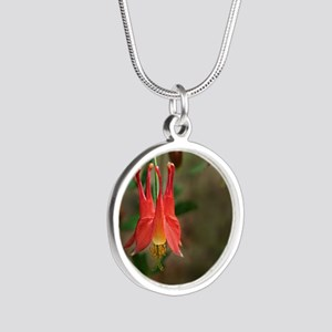 Eastern Columbine (Aquilegia Silver Round Necklace