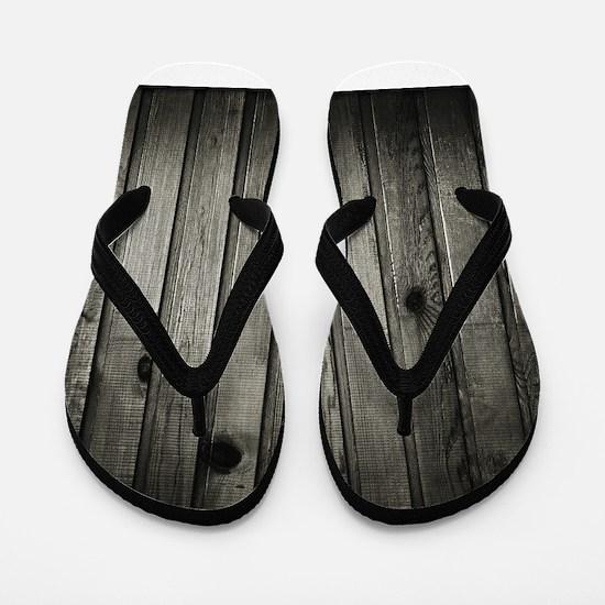 Dark Creepy Wood Panels Pattern Flip Flops