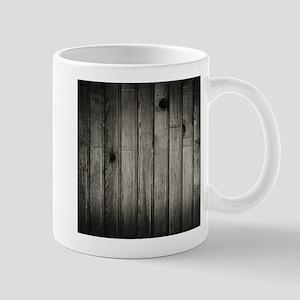Dark Creepy Wood Panels Pattern Mugs