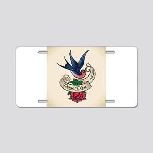 carpe diem bluebird tattoo style Aluminum License