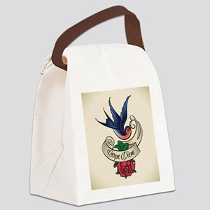 carpe diem bluebird tattoo style Canvas Lunch Bag