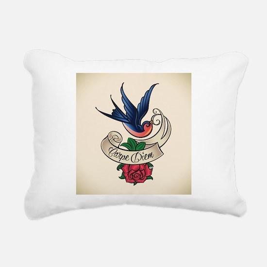 carpe diem bluebird tattoo style Rectangular Canva