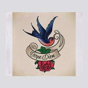 carpe diem bluebird tattoo style Throw Blanket