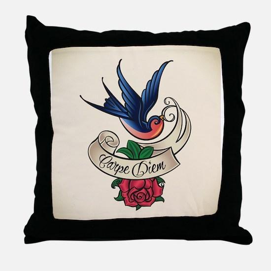 carpe diem bluebird tattoo style Throw Pillow