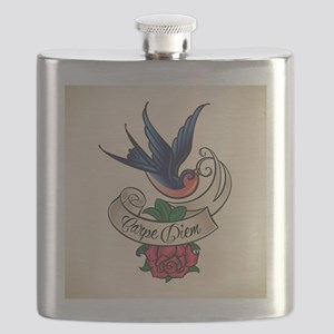 carpe diem bluebird tattoo style Flask