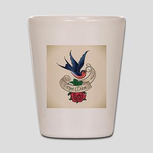 carpe diem bluebird tattoo style Shot Glass