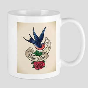 carpe diem bluebird tattoo style Mugs