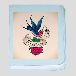 carpe diem bluebird tattoo style baby blanket