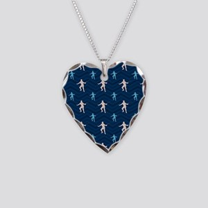 Blue and Tan Chevron Fencing Necklace