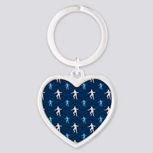 Blue and Tan Chevron Fencing Keychains