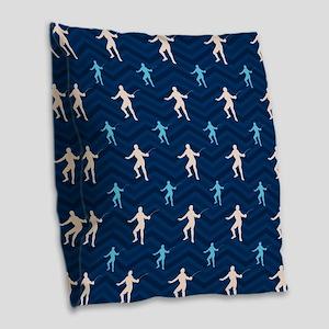 Blue and Tan Chevron Fencing Burlap Throw Pillow