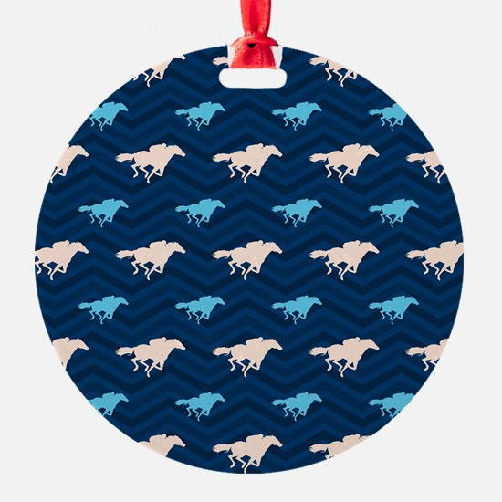 Blue and Tan Chevron Horse Racing Ornament