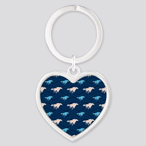 Blue and Tan Chevron Horse Racing Keychains
