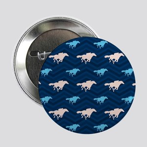 "Blue and Tan Chevron Horse Racing 2.25"" Button (10"