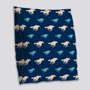 Blue and Tan Chevron Horse Racing Burlap Throw Pil