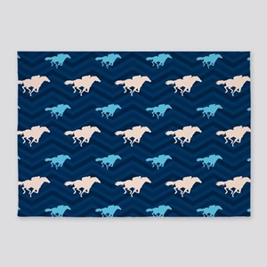 Blue and Tan Chevron Horse Racing 5'x7'Area Rug
